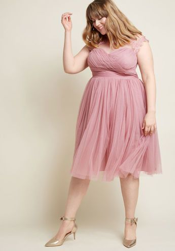 Emphasis On Opulence Fit And Flare Dress In Dusty Rose Style