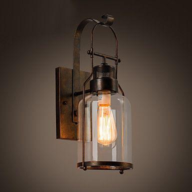 Rustic Loft Style Industrial Metal Lantern Wall Sconce in Black ...