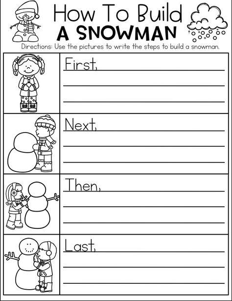 How To Build A Snowman- writing piece. Kindergarten Writing, Teaching Writing, Writing Activities, Preschool Learning, Literacy, Third Grade Writing, 2nd Grade Ela, Grade 2, Fourth Grade