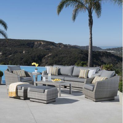 Wade Logan Alfonso 8 Piece Deep Seating Group With Cushion Fabric Conversation Set Patio Outdoor Sofa Sets Patio Sofa