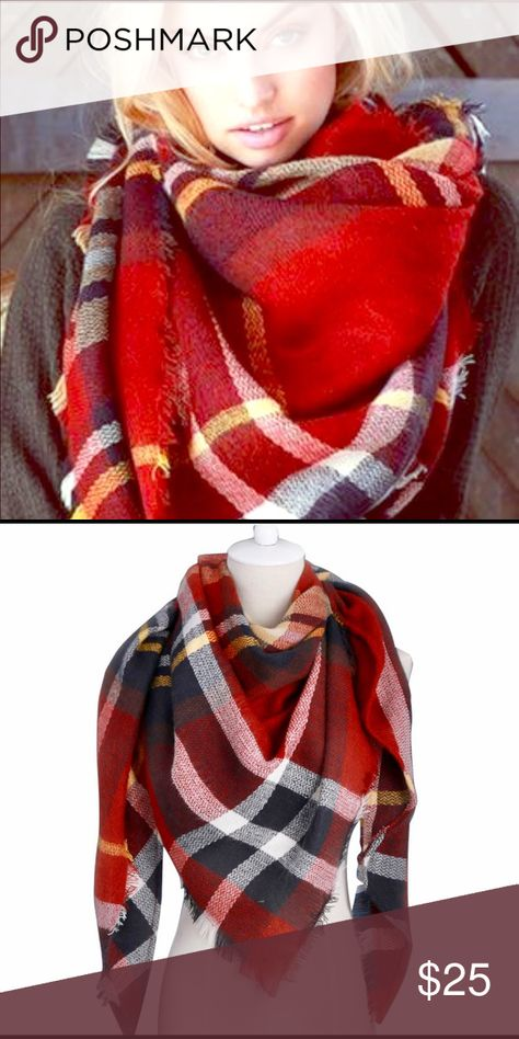 54e33b531596 Red Plaid Blanket Scarf Oversized plaid blanket scarf