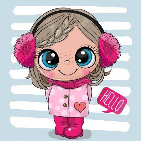 Chica De Dibujos Animados En Un Abrigo Y Auriculares De Piel Ilustracion De Stock Imagenes Bonitas Para Ninas Cosas Lindas Para Dibujar Dibujos Bonitos