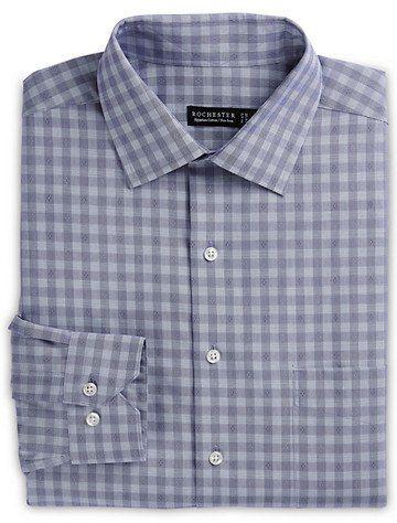 Rochester by DXL Big and Tall Dobby Plaid Dress Shirt Navy