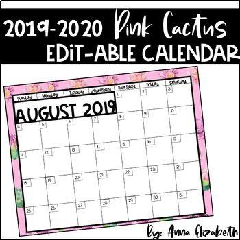 2020 Calendar Printable Calendar Classroom Organization