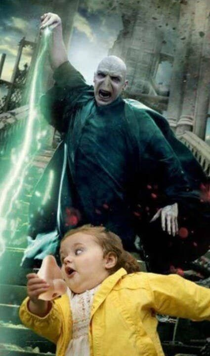 This photo of Voldemort trying to catch his nose.