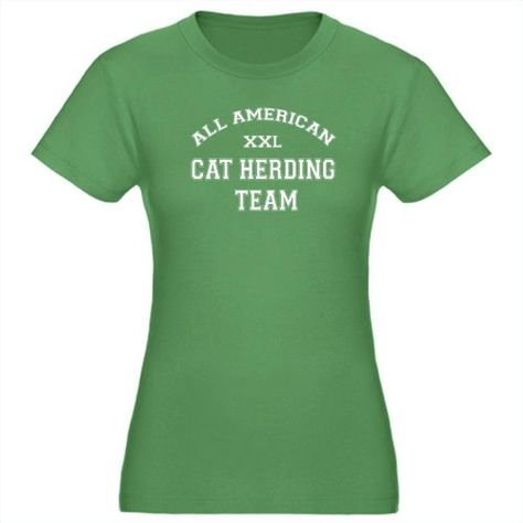 AA Cat Herding Team Funny Womens Fitted T-Shirt dark by CafePress - L Kelly Green