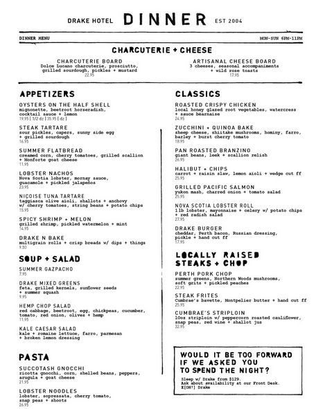 The Drake Hotel dinner menu Menu Inspiration Pinterest - dinner menu