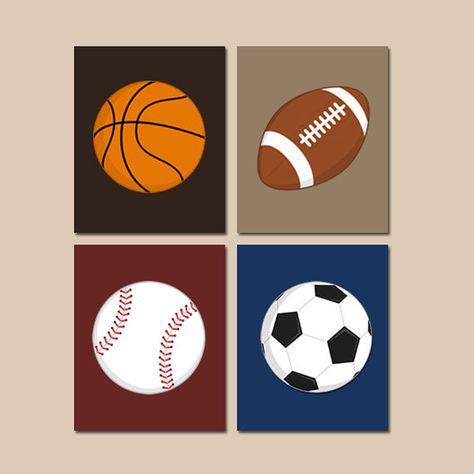 DEPORTES vivero niño arte de pared, lienzo o grabados, Sports Theme, dormitorio de niño grande, fútbol fútbol béisbol Baloncesto Juego de decoración niño 4