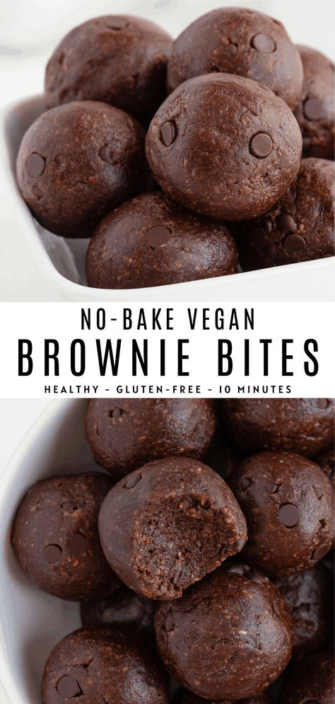 No bake brownie bites are fudgy, vegan, gluten-free, and secretly healthy! These easy 10-minute chocolate energy balls are made with dates, almonds, walnuts, and cacao powder. Perfect for a healthy dessert or post-workout snack! #nobake #browniebites #energyballs #proteinballs #blissballs #energybites #vegan #glutenfree #brownies #rawbrownies