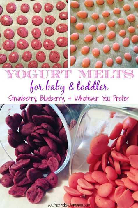 Yogurt Melts For Baby/Toddler – Homemade Baby Food Recipes – Cereal, Fruits & Veggies Baby First Foods, Baby Finger Foods, Baby Led Weaning First Foods, Weaning Foods, Fingerfood Baby, Yogurt Melts, Making Baby Food, Healthy Baby Food, Freeze Baby Food