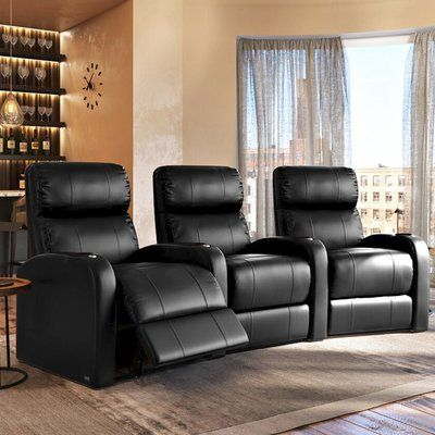Latitude Run Home Theatre Recliner Row Of 3 Reclining Type Manual Body Fabric Smartsuede Carbon Home Theater Seating Theater Recliners Theater Seating