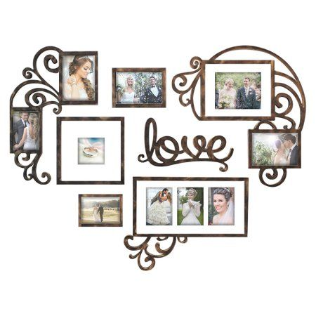 Heart Love Photo Frame Plaque College Valentine Wall Decoration Combination Pvc Picture Frame Selfie Gallery Collage Wall Hanging Mounting Design Love H Framed Photo Collage Picture Frame