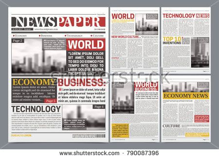 Stock Vector Newspaper pages template design with world breaking - newspaper headline template