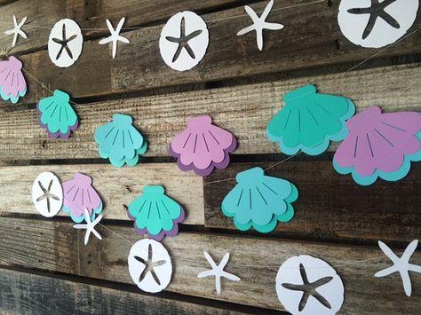 Conchas-sirena fiesta Garland-bajo el mar Baby por BlueOakCreations