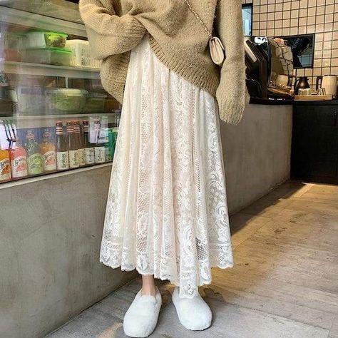 Women Boho Beading Lace Long Skirt - Apricot / One Size