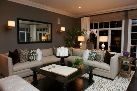 Grays, browns and neutrals with small pops of color....wall color
