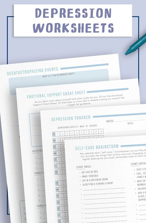 Use these worksheets for better mental wellness. The trackers, guides sheets, and self-reflection pages will help you build good emotional health and cope with mental struggles. This bundle is specifically designed to deal with depression.