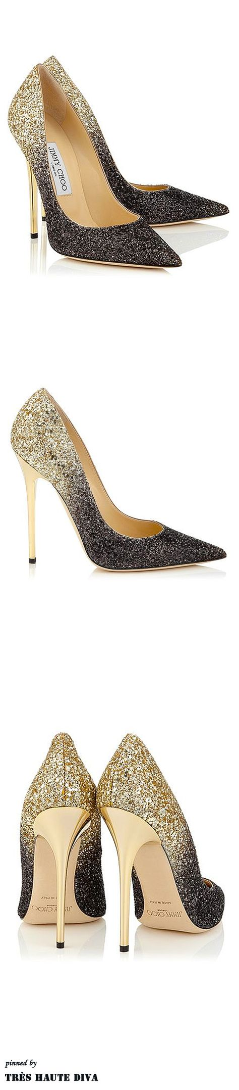 Jimmy Choo 'Anouk' - Black and Nude Coarse Degrade Glitter Pointy Toe Pumps