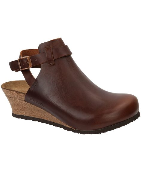 10949d8c32b1 The Esra from Birkenstock is a women s wedge heel ankle strap clog with  high fashion looks and comfortable footbed.
