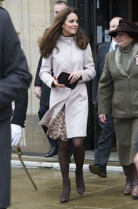 Kate has worn her Max Mara leopard-print chiffon dress on more than one occasion, debuting it in public on ...