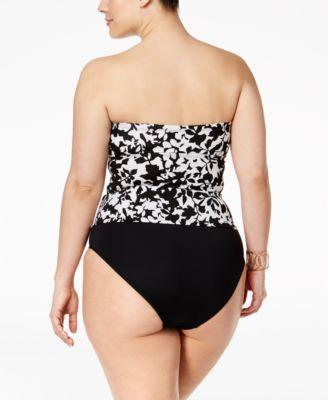 ba93d6bcb081a Lauren Ralph Lauren Plus Size Regent Floral-Print Twist-Detail Tankini Top  - Black White 16W
