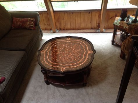 My penny coffee table finished with crystal clear epoxy