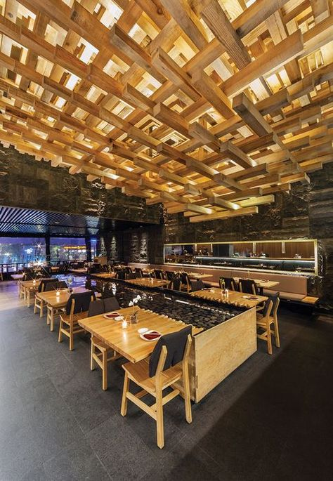 Floating ceiling/texture/warm wood/soft lighting Restaurant and Bar Design Awards. Kiga, Mexico by CheremSerrano and Braverman Arquitectos