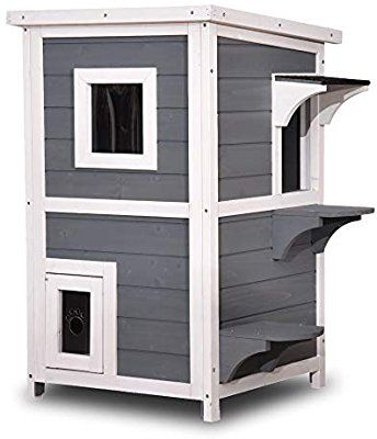 Lovupet 2 Story Weatherproof Wooden Outdoor Indoor Cat Shelter House Condo With Escape Door Outdoor Cat House Outdoor Cat Shelter Cat House Plans