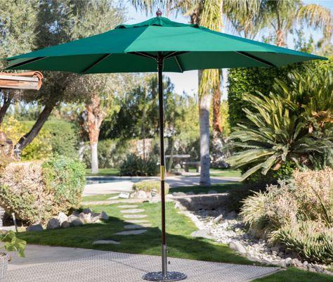 Patio Garden Umbrella 11ft Green Wood Market Outdoor Sun Shade