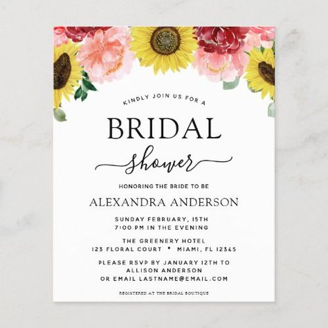 Budget Sunflower Bridal Shower Blush Pink Floral #watercolor #botanical #bridalshower #wedding #floral #sunflower #blushpink #flowers #spring #budget