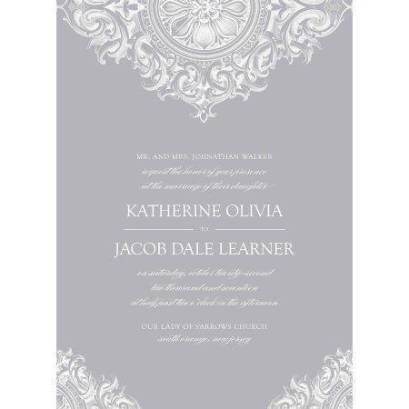 Flourished Medallion Standard Wedding Invitation Silver Walmart