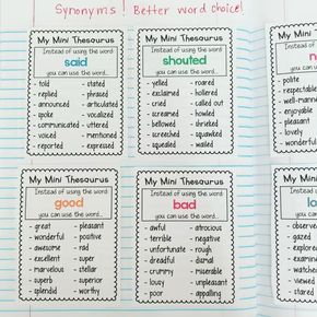 Improve your students' word choice with these synonym thesaurus charts! There are several common words with 14 synonyms to enhance their writing! Use these charts in journals, on binder rings or print the thesaurus booklet! Perfect for second to sixth grade students!