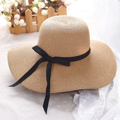 simple Foldable Wide Brim Floppy Girls Straw Hat Sun Hat Beach Women Summer Hat UV Protect Travel Cap Lady Cap Female - Light coffee / 55-58cm