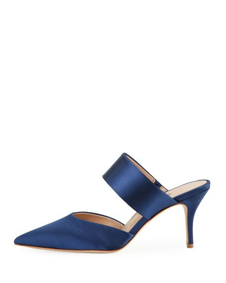 Amelie Two-Band Heeled Mule, Navy