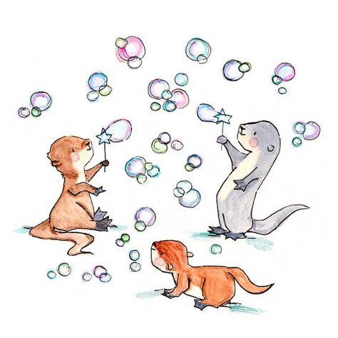 De la loutre et les bulles--pépinière Art Print, nouveau bébé, fille, garçon
