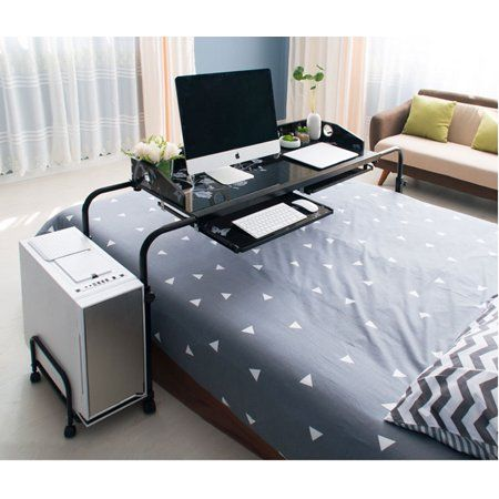 Height Adjustable Mobile Overbed Table 55 Laptop Table Cart Walmart Com Overbed Table Adjustable Computer Desk Bed Table