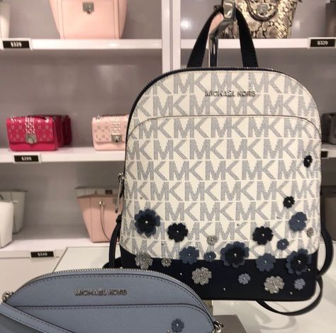 NWT MICHAEL KORS EMMY FLORAL VANILLA SMALL BACKPACK Navy