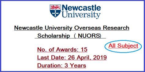 Newcastle University Overseas Research Scholarship Nuors