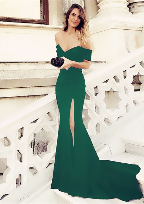 bf8bcbc086dd Sexy Leg Slit Long Mermaid Evening Dress Off Shoulder Prom Gowns