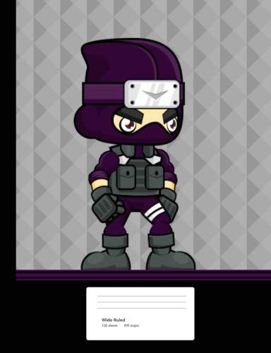 Ninja Boy Composition Book: Notebook Wide Ruled Paper 200