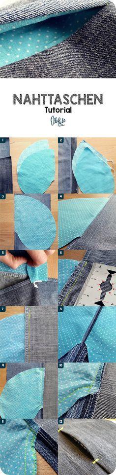 Tutorial: wie du eine Nahttasche nähen kannst (seitliche Eingrifftasche). Mit kostenlosem Download für Schnittteil und ausführlich bebilderte Anleitung.