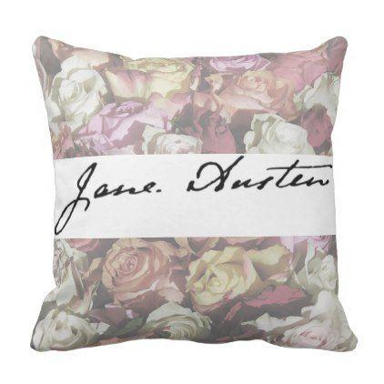 Jane Austen Signature Throw Pillow Zazzle Com Classic Gifts