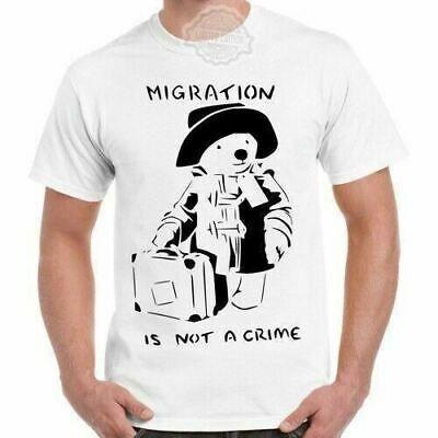 Paddington Bear Migration Is Not A Crime Vintage Cool Gift Retro T Shirt 651
