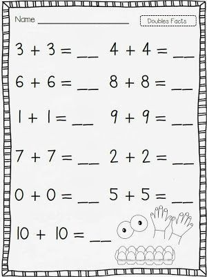 Doubles Facts Worksheets In 2020 Doubles Facts First Grade Worksheets First Grade Math Doubles facts worksheets
