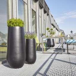 Stonefiber Pot Blumentopf Bauchig Hoch Pflanzgefasse Aussen