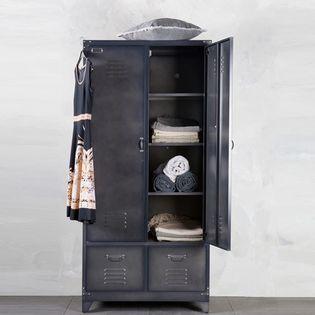 Armoire Casier En Metal Noir 1 Penderie 3 Etageres 2 Tiroirs Locker Armoire Metallique Amenagement Chambre Ado Armoire Rangement