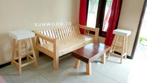 meja kursi ruang tamu minimalis pine wood | minimalis