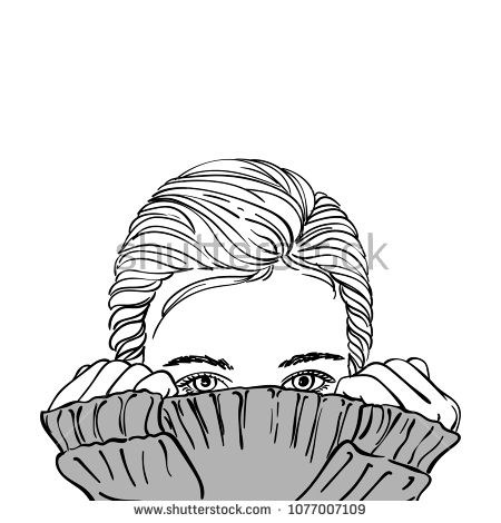 Sketch Of Teenage Girl With Hair Parted On Side Hiding Her Face In Warm Grey Knitted Sweater Hand Drawn Vector Human Face Drawing Face Sketch Silver Grey Hair