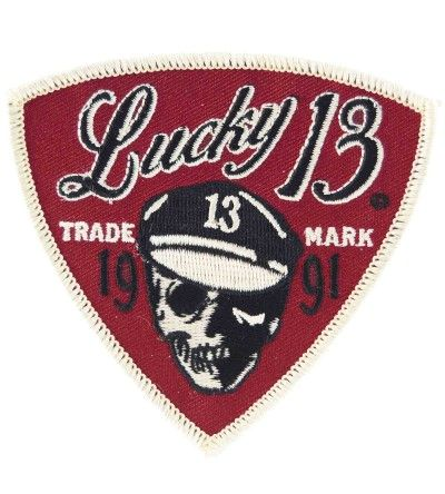 Lucky 13 Skull Built Patch Rockabilly Punk Kustom Retro Iron On Bike motorcycle
