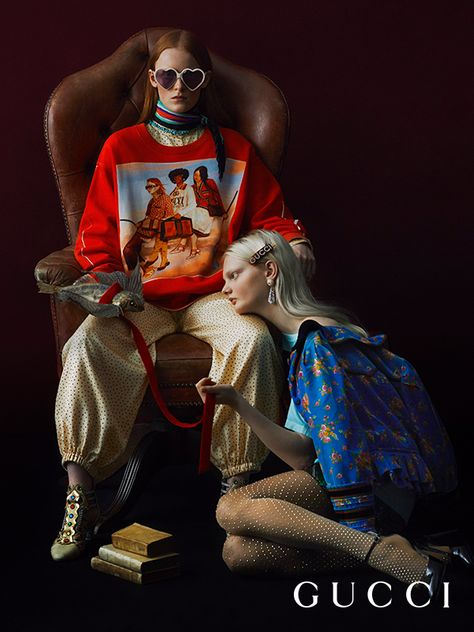 Featuring the digitally painted illustrations from the Gucci Spring Summer 2018 campaign by Ignasi Monreal, a special line-up of nine sweatshirts and nine T-shirts with dedicated numbered labels. Only 200 T-shirts and 100 sweatshirts have been produced in each design and the #GucciHallucination pieces will be delivered in special packaging featuring the artist's work.  Photography by: Julia Hetta